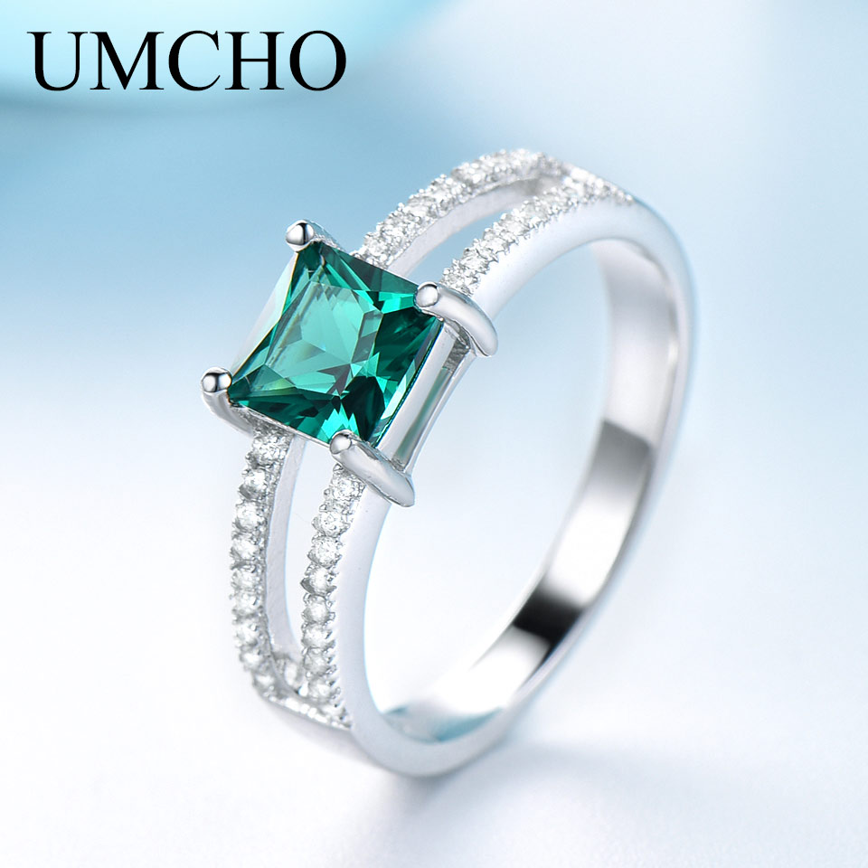 UMCHO Solid 925 Sterling Silver Emerald Rings For Women Wedding Party Anniversary Ring Square Cut Gemstone Jewelry Drop ShippingUMCHO Solid 925 Sterling Silver Emerald Rings For Women Wedding Party Anniversary Ring Square Cut Gemstone Jewelry Drop Shipping