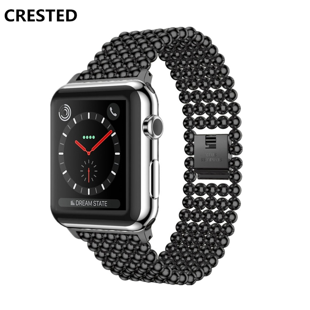 CRESTED Stainless Steel Strap For Apple Watch 5 4 Band 44mm 40mm Correa Iwatch Series 4 3 2 1 42mm/38mm Wrist Link Bracelet Belt