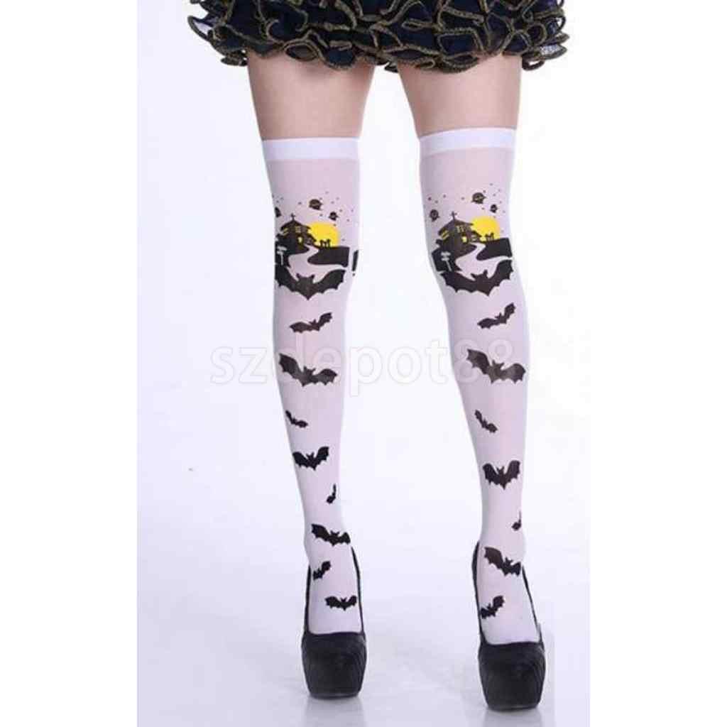 Cadılar bayramı karnaval korkunç kale yarasa uyluk yüksek çorap kadın kızlar tutun çorap diz çorap üzerinde süslü elbise turuncu/beyaz