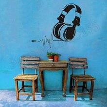 YOYOYU Wall Decal Listen To Music Headphones Sticker Removable Interior Decor Kids Room Vinyl Art Earphone Song ZW132