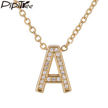 Pipitree Cubic Zirconia Letter Pendant Necklaces Silver Gold Color 26 Alphabet Name Initial Necklace Women Jewelry Collier Femme(China)