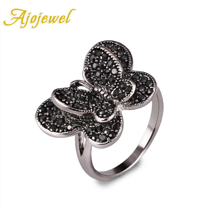 Ajojeel Elegant สไตล์ Pave CZ แหวนผีเสื้อขนาด 7/8/9 ใหม่แฟชั่นสตรี VINTAGE เครื่องประดับขายส่ง