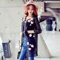 Original 2017 Brand Windbreaker Spring Plus Size Slim Elegant Casual Hollow Oute Black Flower Trench Coat for Women Wholesal