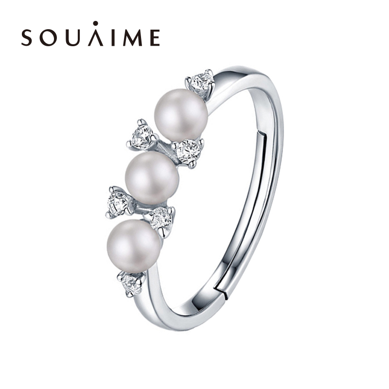 925 Sterling Silver Natural Pearl Ring Adjusting Ring 4.5mm White Pearl Flower Wedding pearl Ring For Women Gift925 Sterling Silver Natural Pearl Ring Adjusting Ring 4.5mm White Pearl Flower Wedding pearl Ring For Women Gift