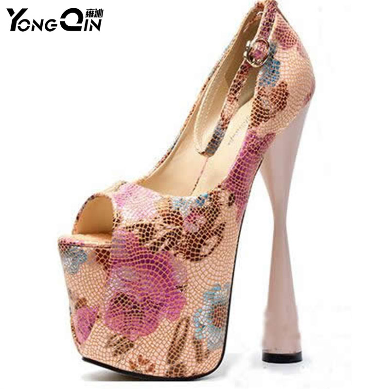 Spring Autumn Women Platform Shoes 2018 New 20CM High Heels Women Pumps Thin Heels Sexy Party Ladies Pumps SIZE 34-43 yeelves new women fashion thin high heels pumps yellow or black heels court shoes pumps for ladies girl party plus size bowtie