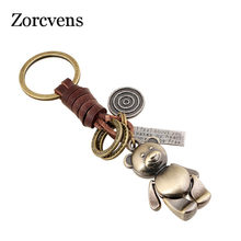 LETAPI 2019 New Brand Punk Rock Vintage Bear Genuine Leather Key Chains for Man Woman(China)