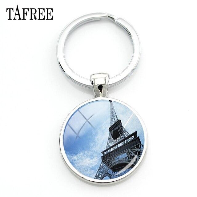 TAFREE famou Cenário paris Torre Eiffel Ver Chaveiro Saco Chave Do Carro Chaveiro amigos presente Acessórios de moda Jóias FA392