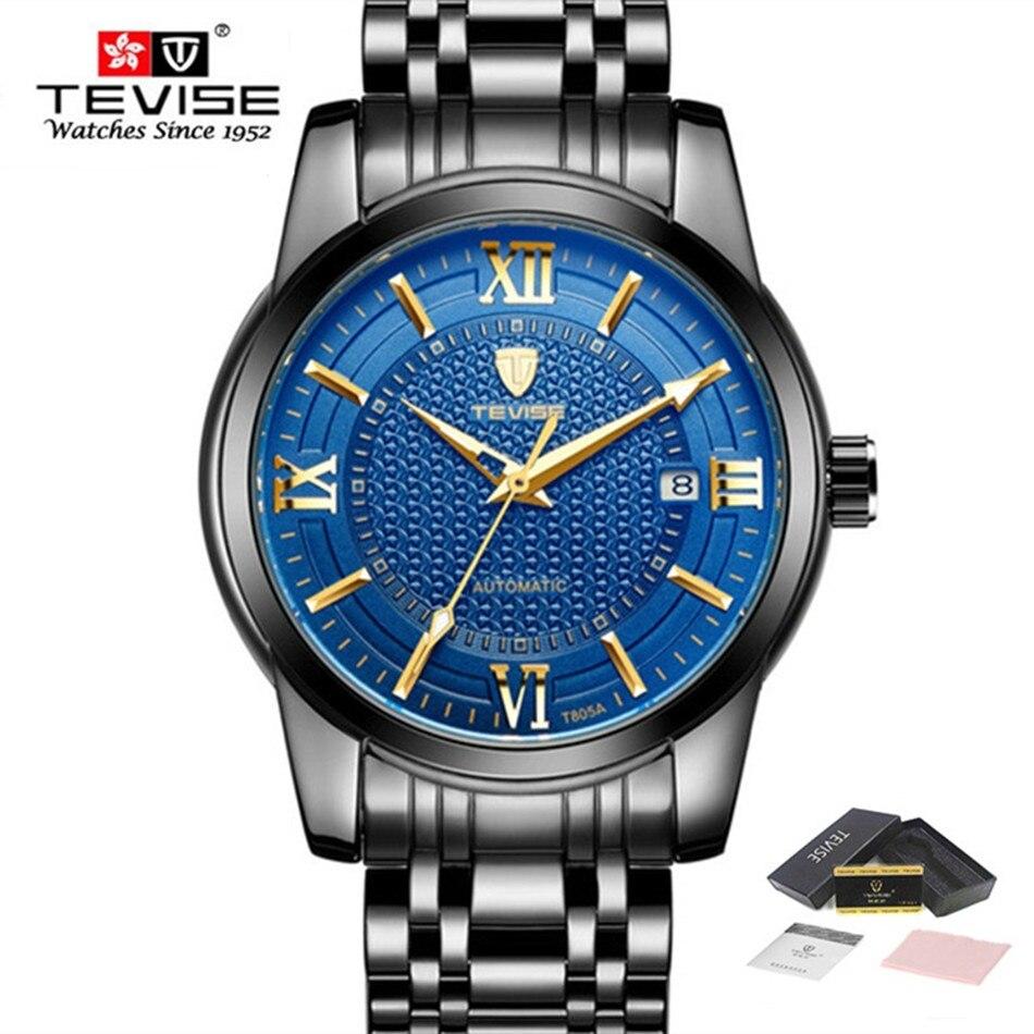 лучшая цена New TEVISE Business Watch Men Casual Automatic Mechanical Watches Calendar Stainless Steel Waterproof Luminous Male Wrist Watch