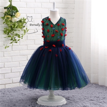 Beautiful 2017 Navy Blue V Neck Ball Gown Sleeveless Flower Girl Dresses For Weddings Pageant Dresses With Flowers TZ006