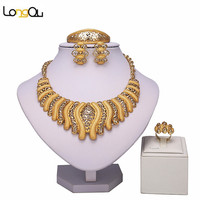 Fashion Big Butterfly Tie Dubai African Gold Plated Big Necklace Earrings Costume Jewelry Sets Nigerian Women