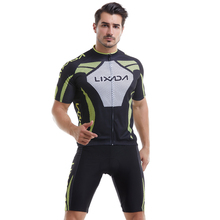 Mens Short Sleeve Cycling Jersey Padded  Sportswear Suit Set Breathable Cloth 2019