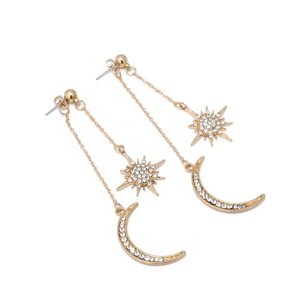 Estrela da moda Strass Crescent Moon Dangle Longo Brincos Mulheres Jóias Longo Brincos Pendurados Moda Jóias New Arrival