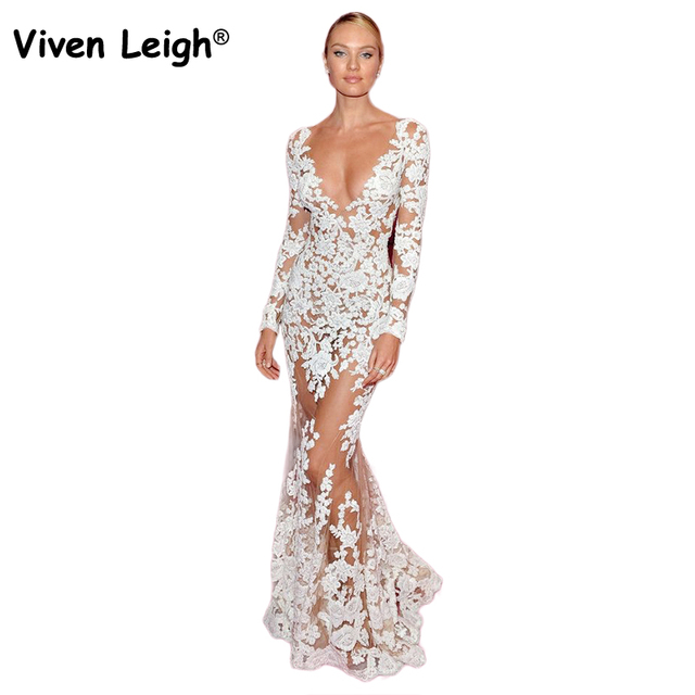 7e0a8963ebaf Viven Leigh Elegant Floor-length Lace Party Dress 2018 Women Sexy  Perspective Mesh White Floral Lace Evening Maxi Long Dresses
