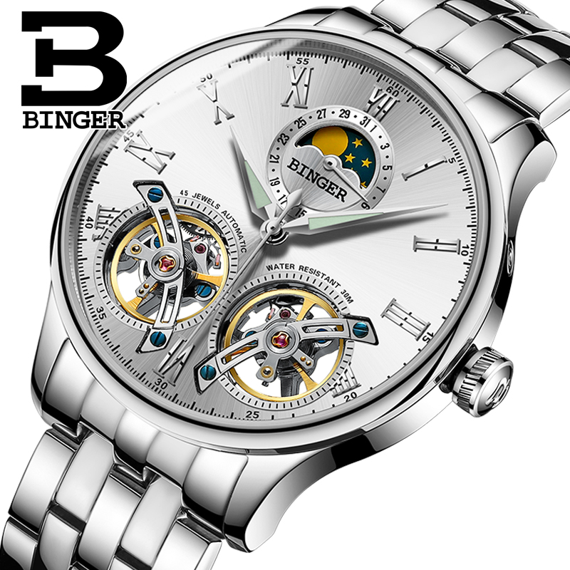 Switzerland Mechanical Men Watches Binger Role Luxury Brand Skeleton Wrist Sapphire Waterproof Watch Men Clock Male reloj hombre switzerland automatic mechanical watch men stainless steel reloj hombre wrist watches male waterproof skeleton sapphire b 1160 3