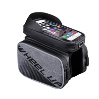 Wheel Up 3 in 1 Waterproof Bike Wallet Phone Holder 6 inch Touch Screen 2 Color Canvas Pattern Bicycle Smartphone GPS Tube Bag