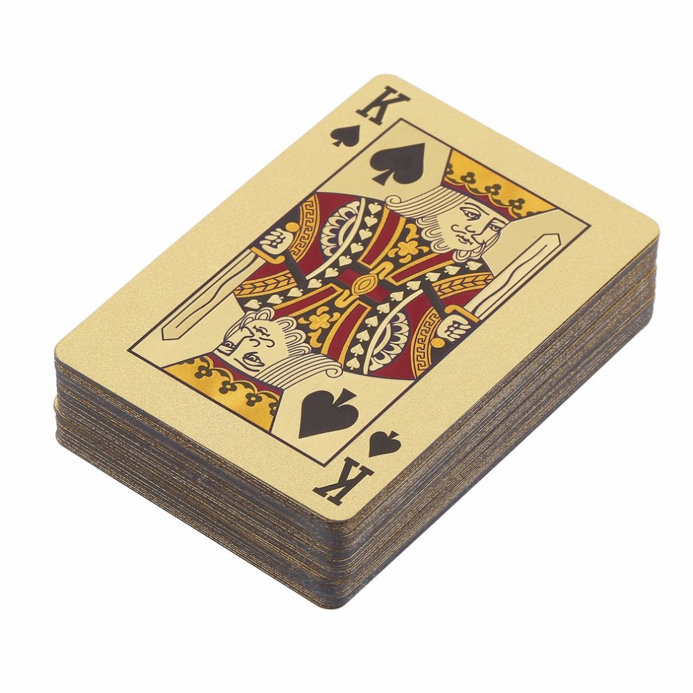 Poker Cards PET/PVC Waterproof Plastic Luxury Foil Plated Playing Cards Party Family Games Grid /Euro Single-Side Color Edition