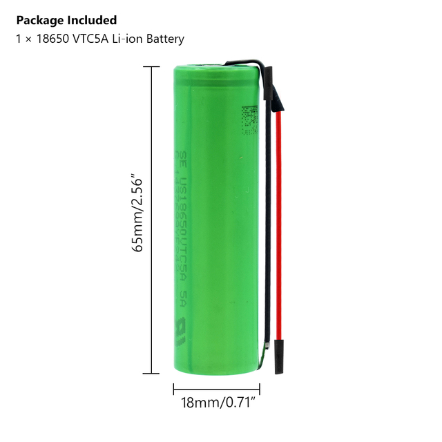 New 1-10Pcs US18650VTC5A 3.6 v 2600 mah 18650 Battery Lithium Rechargeable Battery 35A High Drain With Diy Wires batteries 2