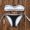 Bandeau Bkini 2017 Sexy Shell Printing Bikini Set Strapless Padded Swimwear Women Biquini Cute Bathing Suit