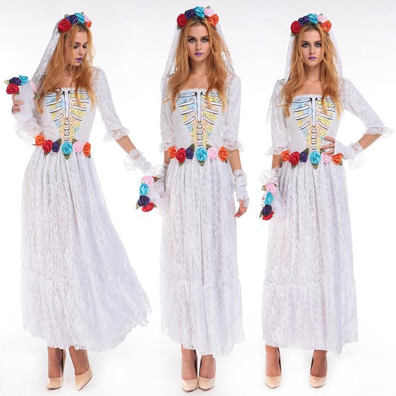 M XXL White Princess Cosplay Dress Skull Zombie Adults Clothes Halloween Girl Costume DS Ghost Birde Wedding On Aliexpress
