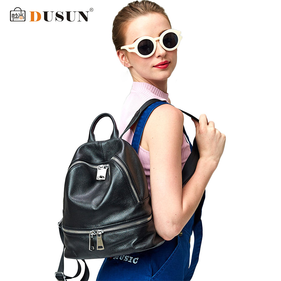 ФОТО DUSUN Casual Women Leather Backpacks Luxury Famous Brands Backpack 2016 Fashion Travel Bags Student School Bag Large Capacity