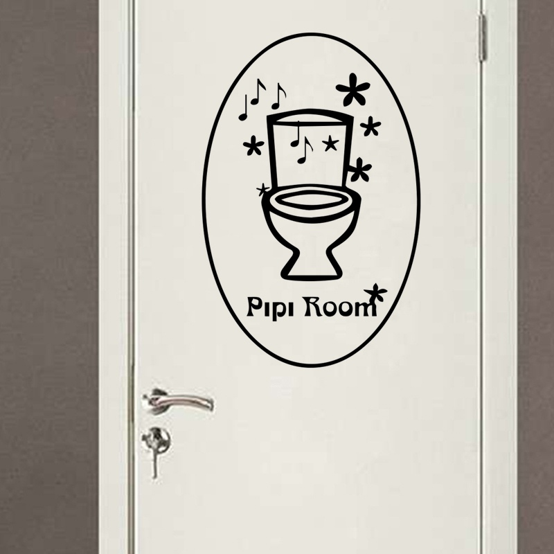 Funny Stickers French Pipi Room Toilet WC Sign Door Wall Sticker Home Decor Wall Decals  ...