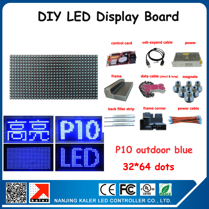 4pcs P10 LED Panel Outdoor LED Display Screen 10000 Dots/sqm Blue Color Programmable Led Message Board Open Sign Advertising