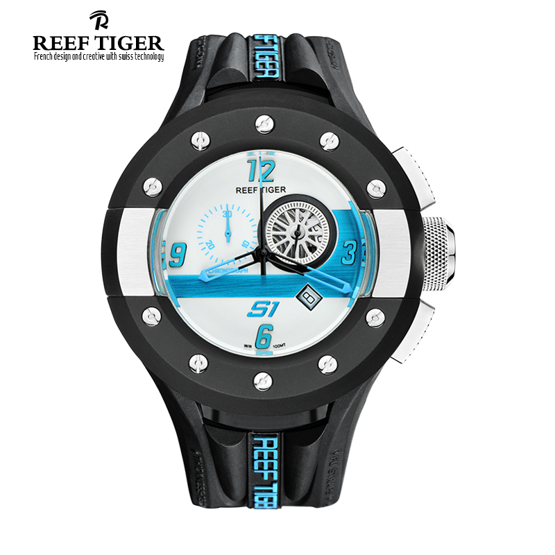 e84c4d357 Reef Tiger Brand Mens Watches Fashion Chronograph Sport White Dashboard  Dial Waterproof Quartz Movement Watch Relogio Masculino