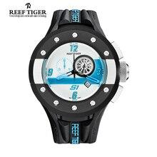 Reef Tiger Brand Mens Watches Fashion Chronograph Sport White Dashboard Dial Waterproof Quartz Movement Watch Relogio Masculino