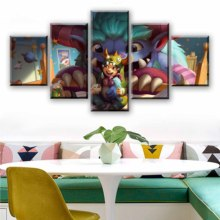LoL Nunu Cute Wall Art Painting 5 Panels Canvas Print Posters Paintings for Home Decoration Living Room