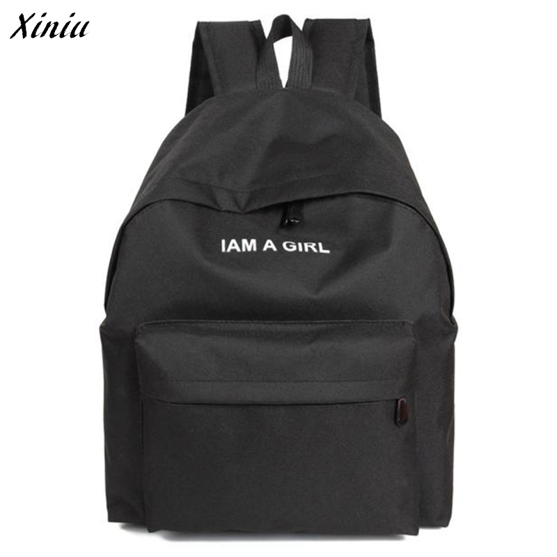 Backpack School Bags For Teenagers I AM A GIRL Letter Embroidery Canvas Backpack Mochila Feminina #2922
