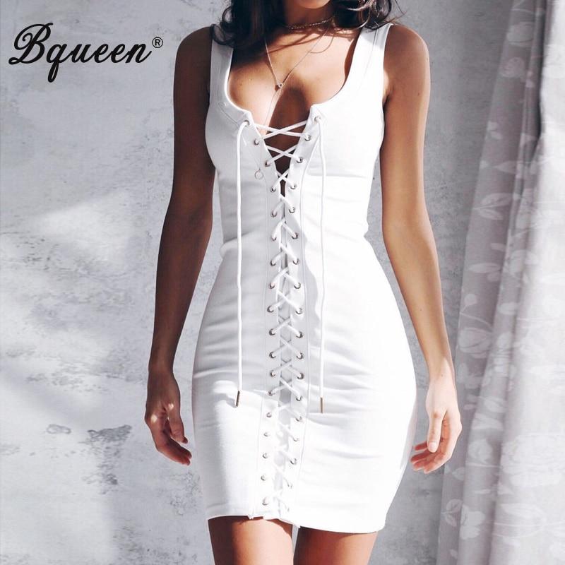 Bqueen Bandage Dress 2018 New Women Sleeveless Lace Up Summer Sexy Dress Deep V Mini Fashion Club Lady Dress Femme Vestidos