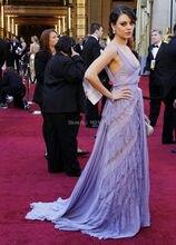 Verführerische V-ausschnitt Lavandar Abendkleider 2016 Sleeveless Backless Bodenlangen A-linie Spitze Appliques Promi Kleid WL195