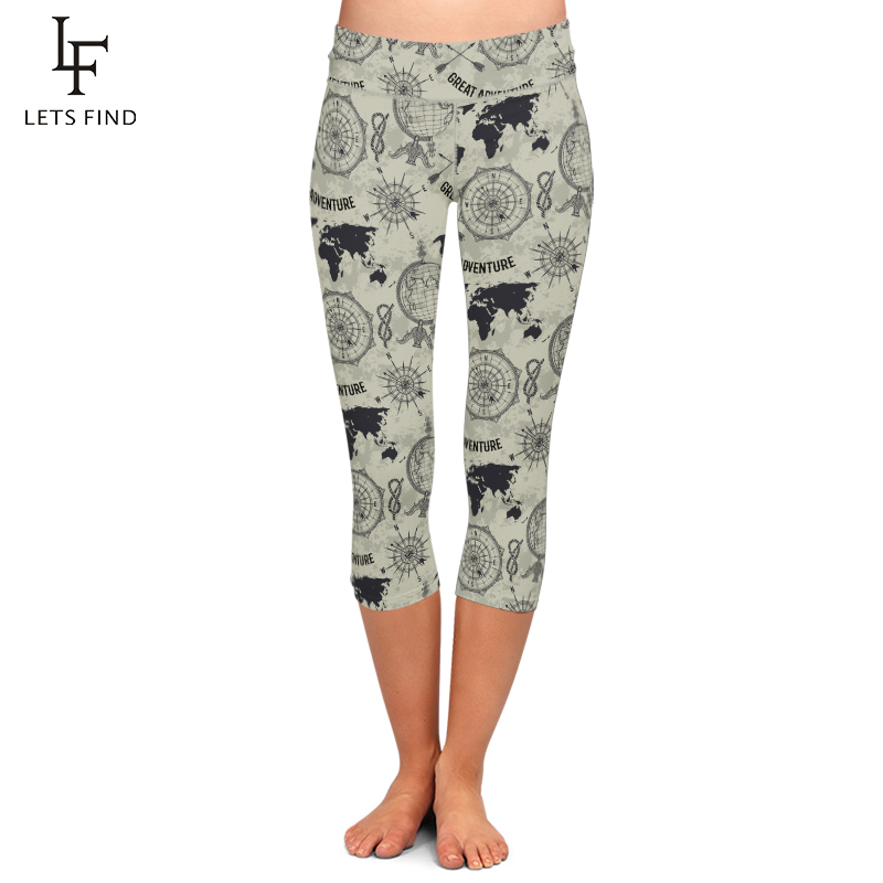 LETSFIND Summer Women Print Capri Leggings Fashion High Waist High Quality Milk Silk Mid Calf Leggings Hot Sale