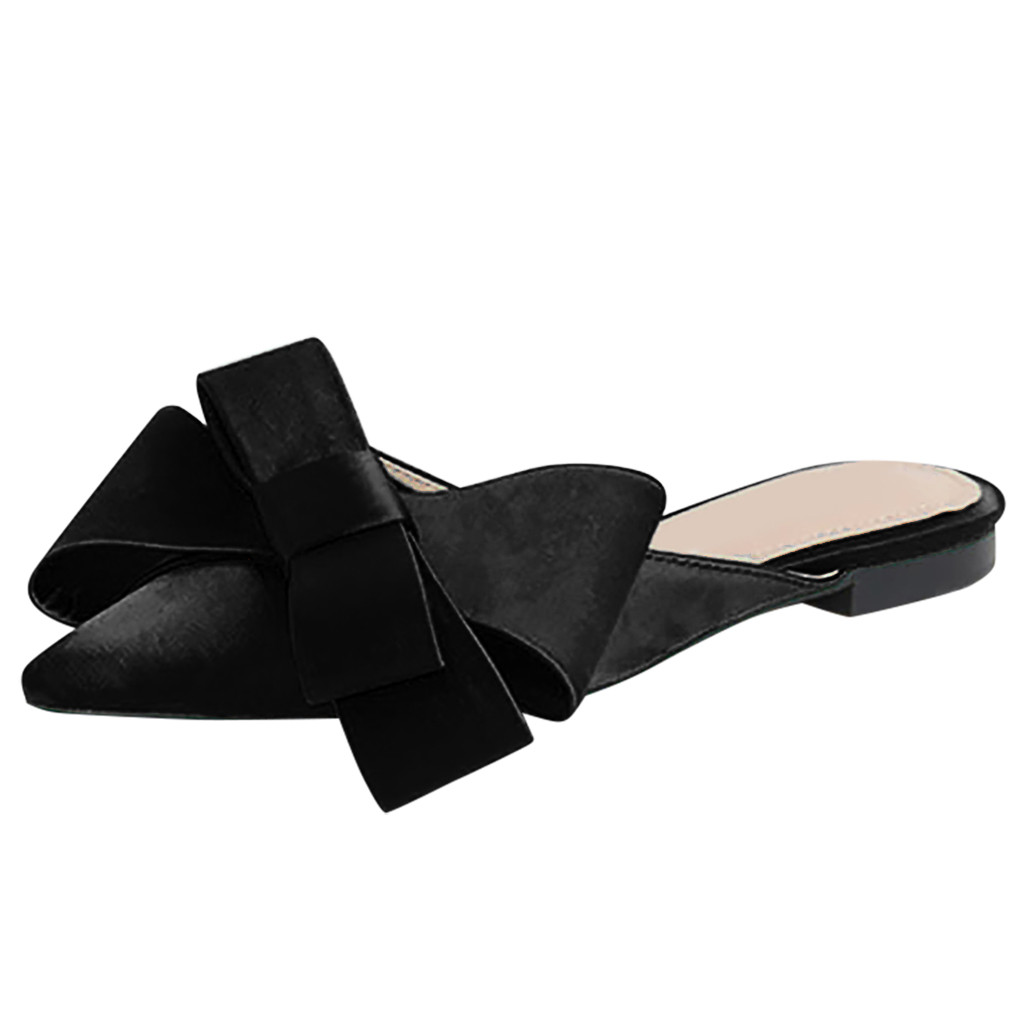 JAYCOSIN 2019 shoes Women sweet shoes Ladies Pointed Toe Shallow Flat Solid Casual Bow Tie Slipper Simple comfortable Shoes 1