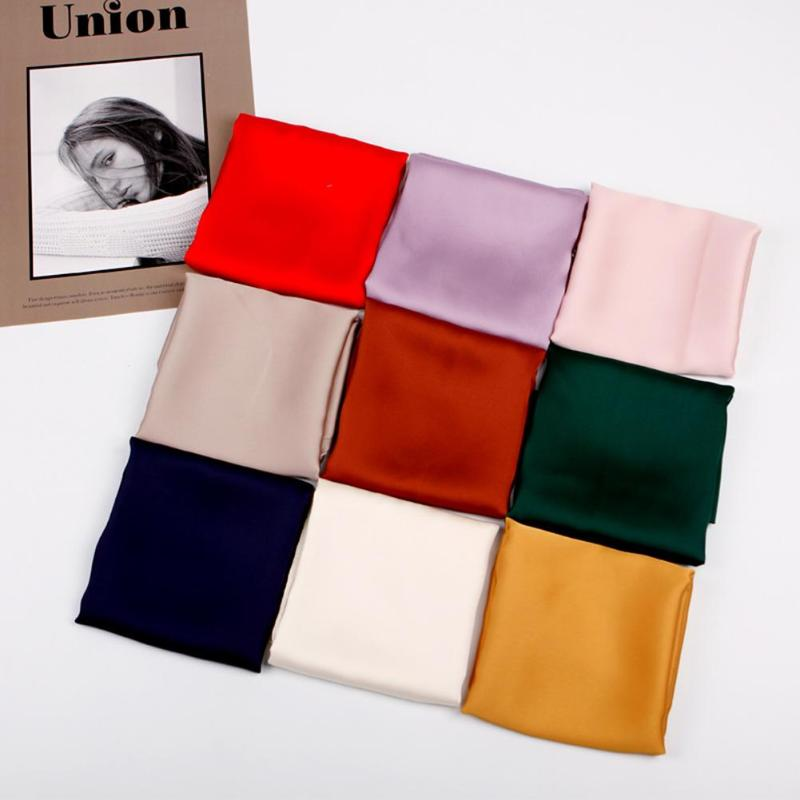 12 Colors Fashion Women Square Scarf Office Neck Wrap Band Solid Color Hotel Waiter Casual Head Scarves Bag Ribbon Decor Gifts
