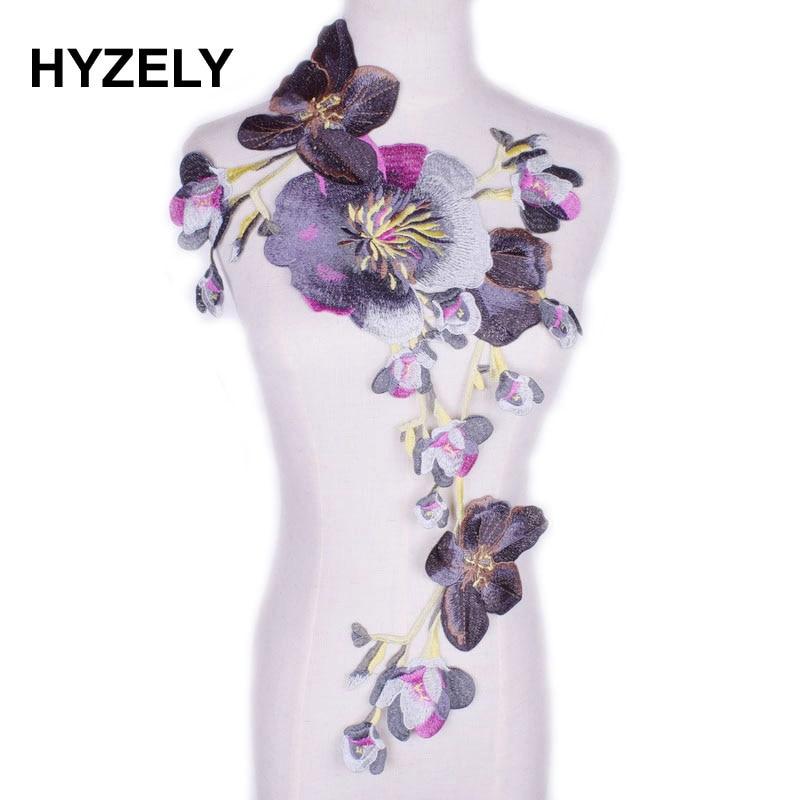 9be40b2d9a5eb 24pcs flowers 3D Chiffon Cluster Flowers Lace Dress Decoration Lace ...