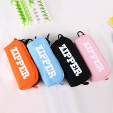 Korean Big Zipper Pencil Bag Large Capacity Canvas Pencil Case School Stationery Pen Storage Box Material Escolar Supplies недорого