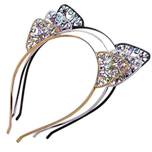 Crystal Rhinestone Cat Ear Headband Lovely Women Girls Metal Hairband Headdress Festival Wedding Party Jewelry Gift