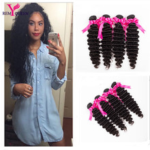 6A Indian Deep Wave Indain Virgin Hair 4 bundles deep wave weave rosa hair products Indian