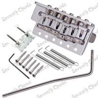 A Set Chrome Thickened Base 6 String Saddle Single Tremolo Bridge System Electric Guitar Replacement Parts