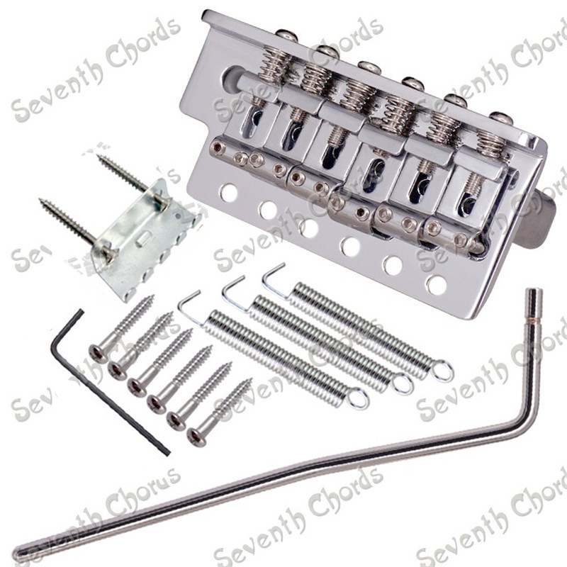 A Set Chrome Thickened Base 6 String Saddle Single Tremolo Bridge System Electric Guitar Replacement parts  With Whammy Bar a set chrome vintage shape saddle bridge for 5 string electric bass guitar top load or strings through body