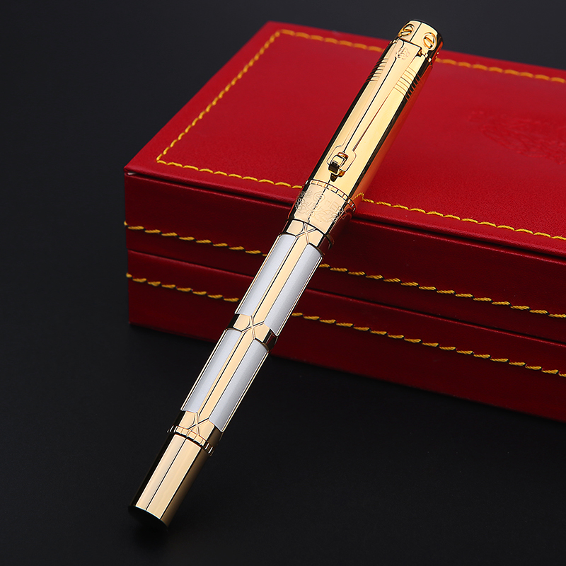 Luxury 10K Gold Fountain Pen 0.5mm Gold-black/White High-end Business Gift Pens with Gift Box Office Supplies Free Shipping цена