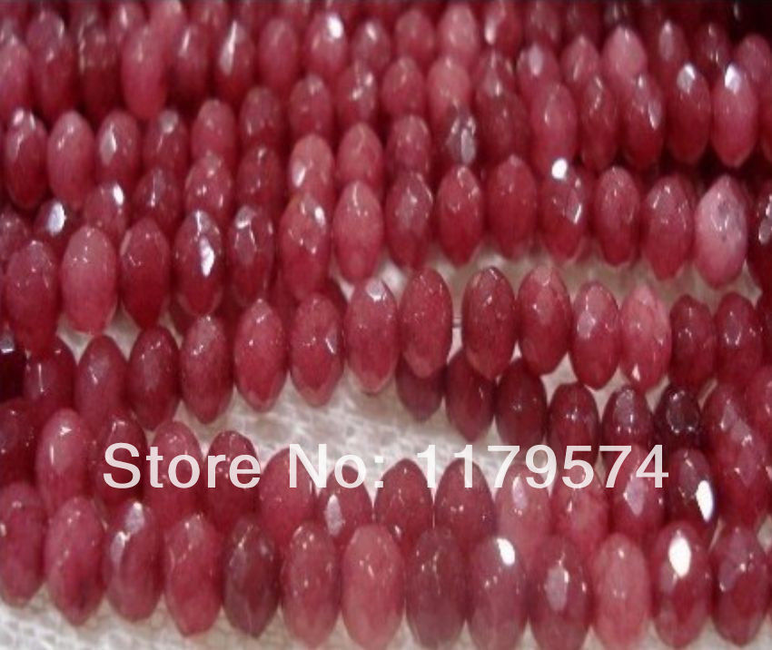 5x8mm Brazil Faceted Red Ruby Round Loose Beads 15