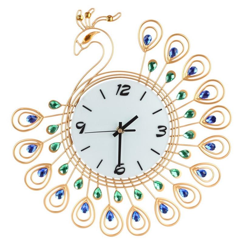 Роскошные Высокое качество Большой Антикварный алмаз павлин настенные часы Гостиная Творческий настенные часы уникальный подарок домашни...