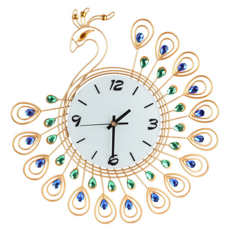 Luxury High Quality Large Antique Diamond Peacock Wall Clocks Living Room Creative Clock Unique Gift Home Decor ASLT In From Garden