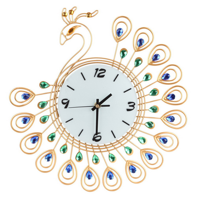 Luxury High Quality Large Antique Diamond Peacock Wall Clocks Living Room  Creative Wall Clock Unique Gift