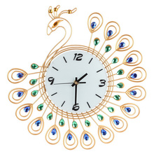 Luxury High Quality Large Antique Diamond Peacock Wall Clocks Living Room Creative Wall Clock Unique Gift Home Decor ASLT