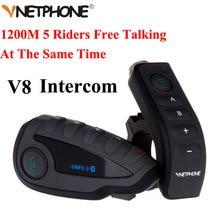 100% Original de la Marca Vnetphone V8 1200 M Bluetooth Intercom Casco De La Motocicleta Interphone Auriculares NFC Control Remoto Full Duplex + FM