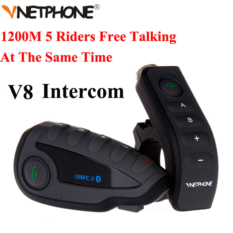 100% Original marca Vnetphone V8 1200 m intercomunicador de Bluetooth Headset casco de la motocicleta Interphone NFC Control remoto dúplex completo + FM