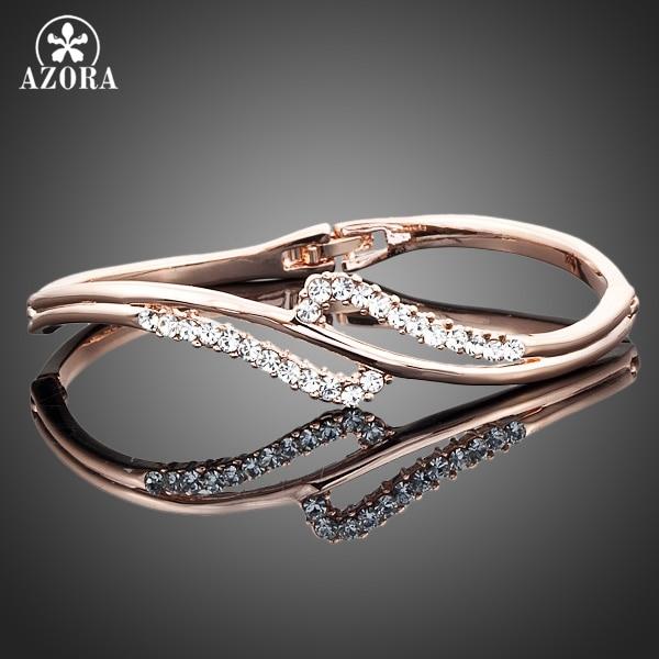AZORA Rose Gold Color Stellux Austrian Crystal Bangle Bracelet TB0005